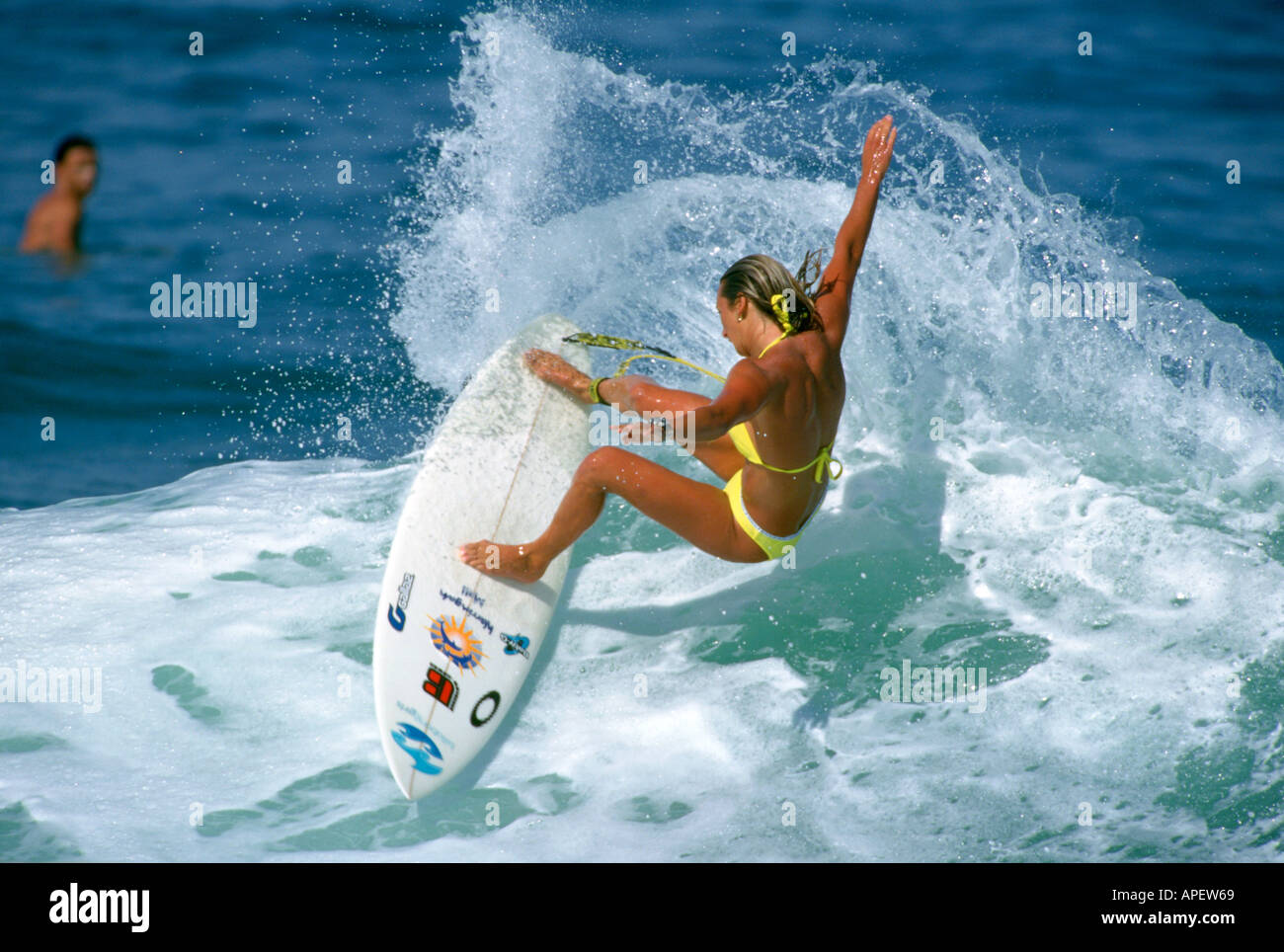 surfer girl layne beachley surfing action stock image