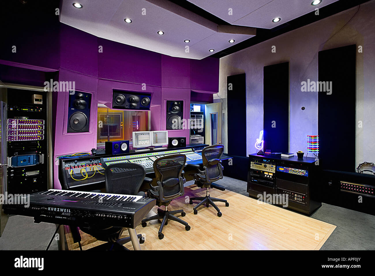Marvelous Music Recording Studio Wide Angle Shot With Array Of Control Largest Home Design Picture Inspirations Pitcheantrous