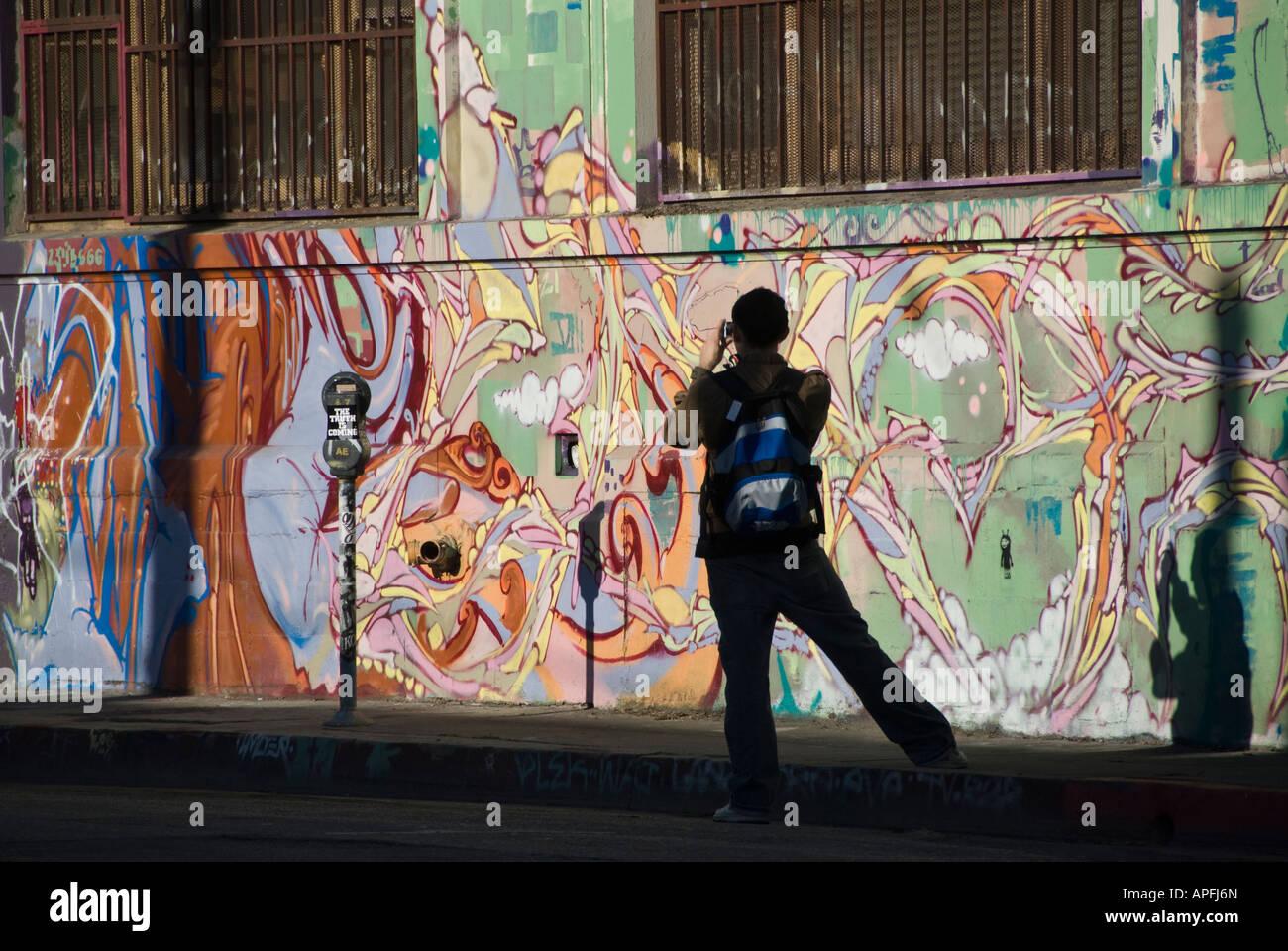 Graffiti wall tokyo - Stock Photo Visitor Photographs Wall Graffiti Near Rose St Little Tokyo District Los Angeles California