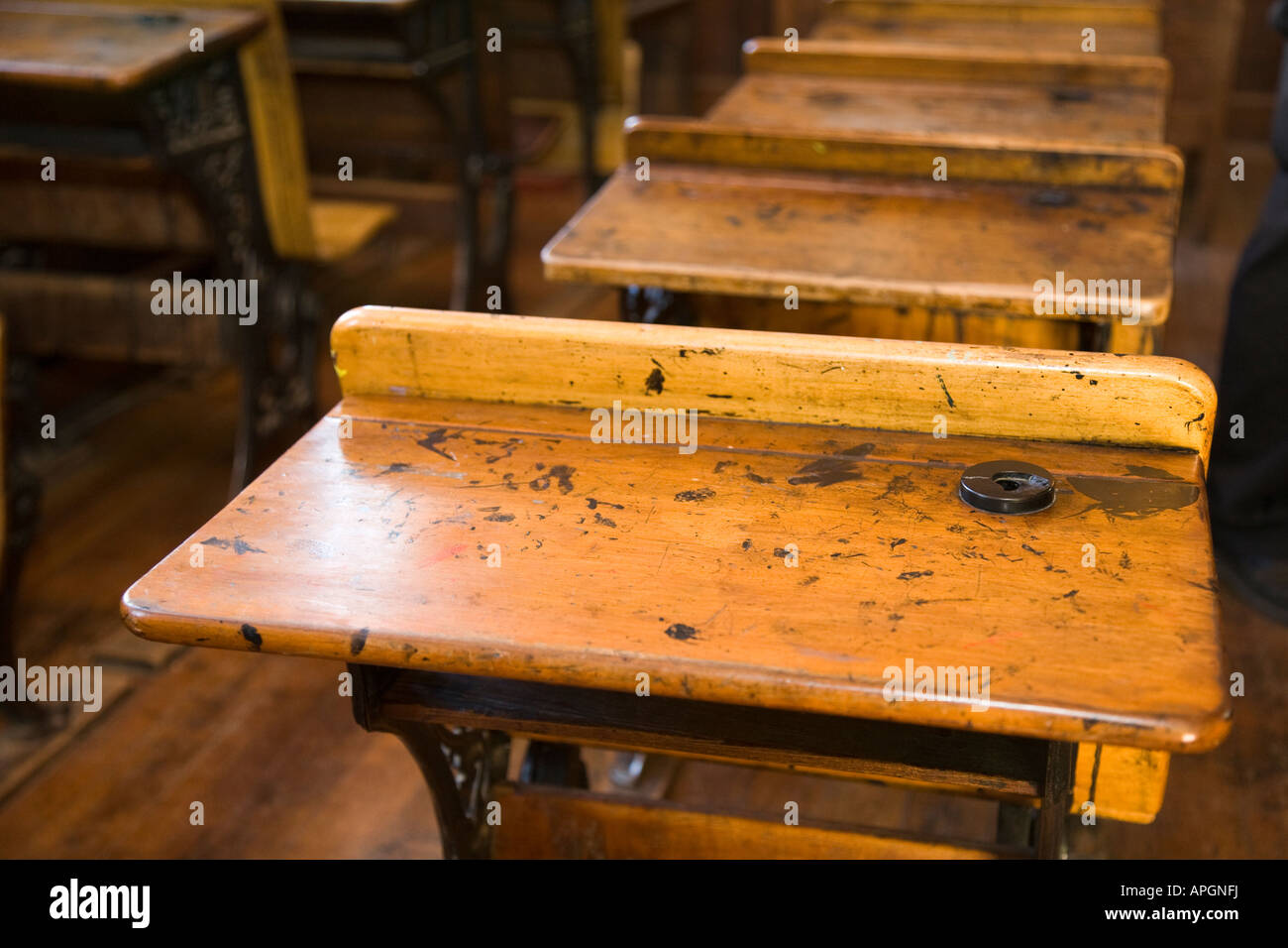 Superb img of Illinois Rockford Wooden Desk With Inkwell For Student Old Fashioned  with #C57A06 color and 1300x956 pixels