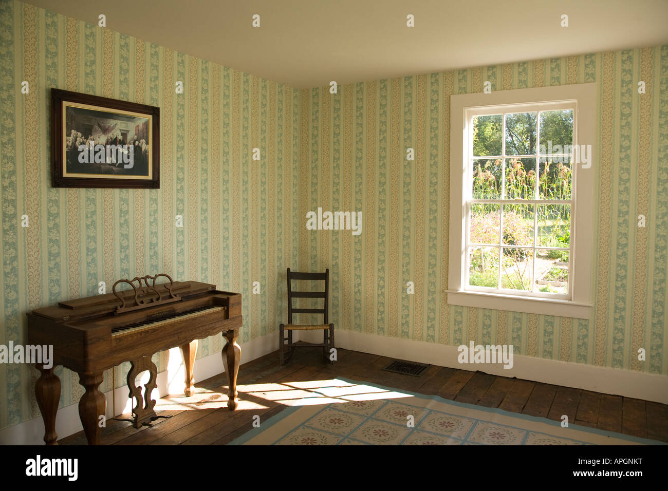 Illinois Rockford Interior Of Home From 1800s Furniture And Chair Stock Photo Royalty Free