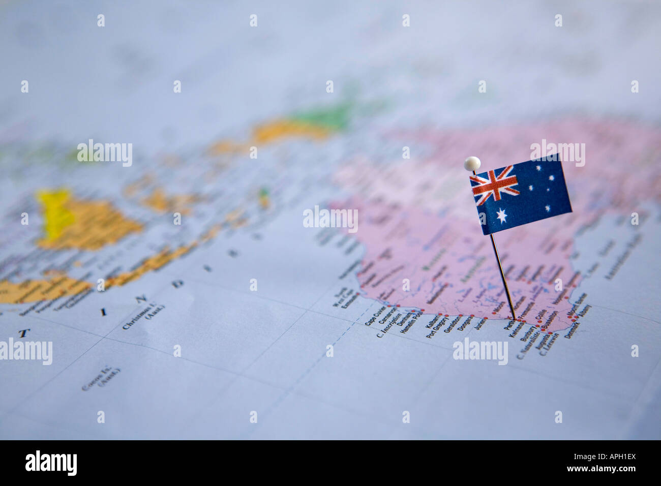 Flag pin placed on world map in perth australia stock photo flag pin placed on world map in perth australia gumiabroncs Image collections