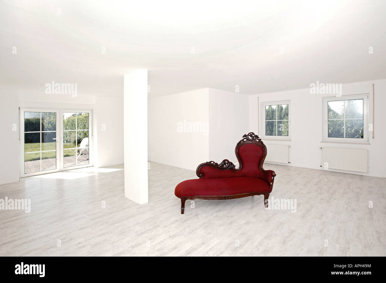 Living Room With Bench Living Room Empty White Column Window Antique Old Red Bank Bench