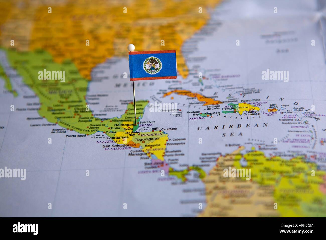 Flag Pin Placed On World Map In The Capital Of Belize Belmopan - Belize map belmopan