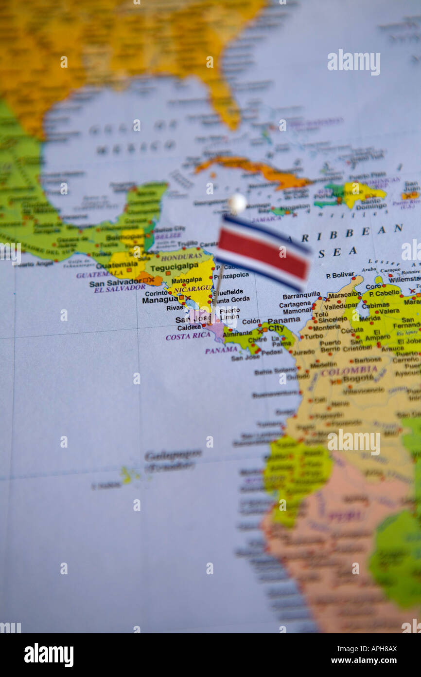 Flag Pin Placed On World Map In The Capital Of Costa Rica San Jose - Map of costa rica world