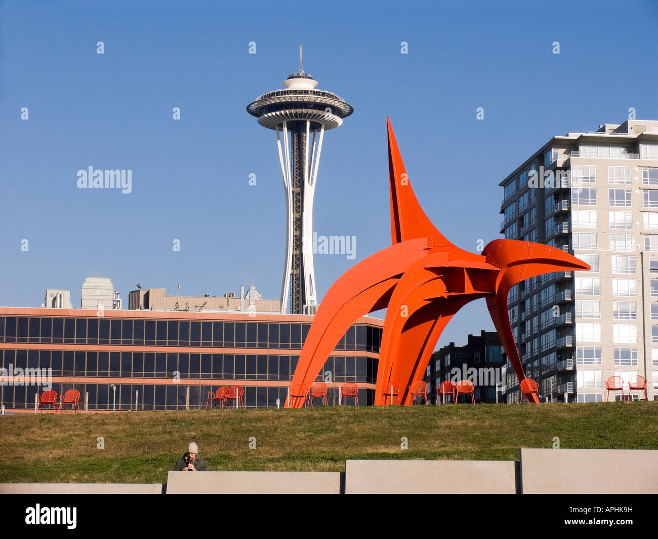 Space Needle And Eagle Sculpture Olympic Sculpture Park