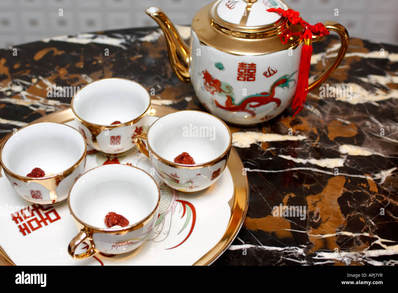 Double Happiness Tea Set For Serving At Chinese Wedding