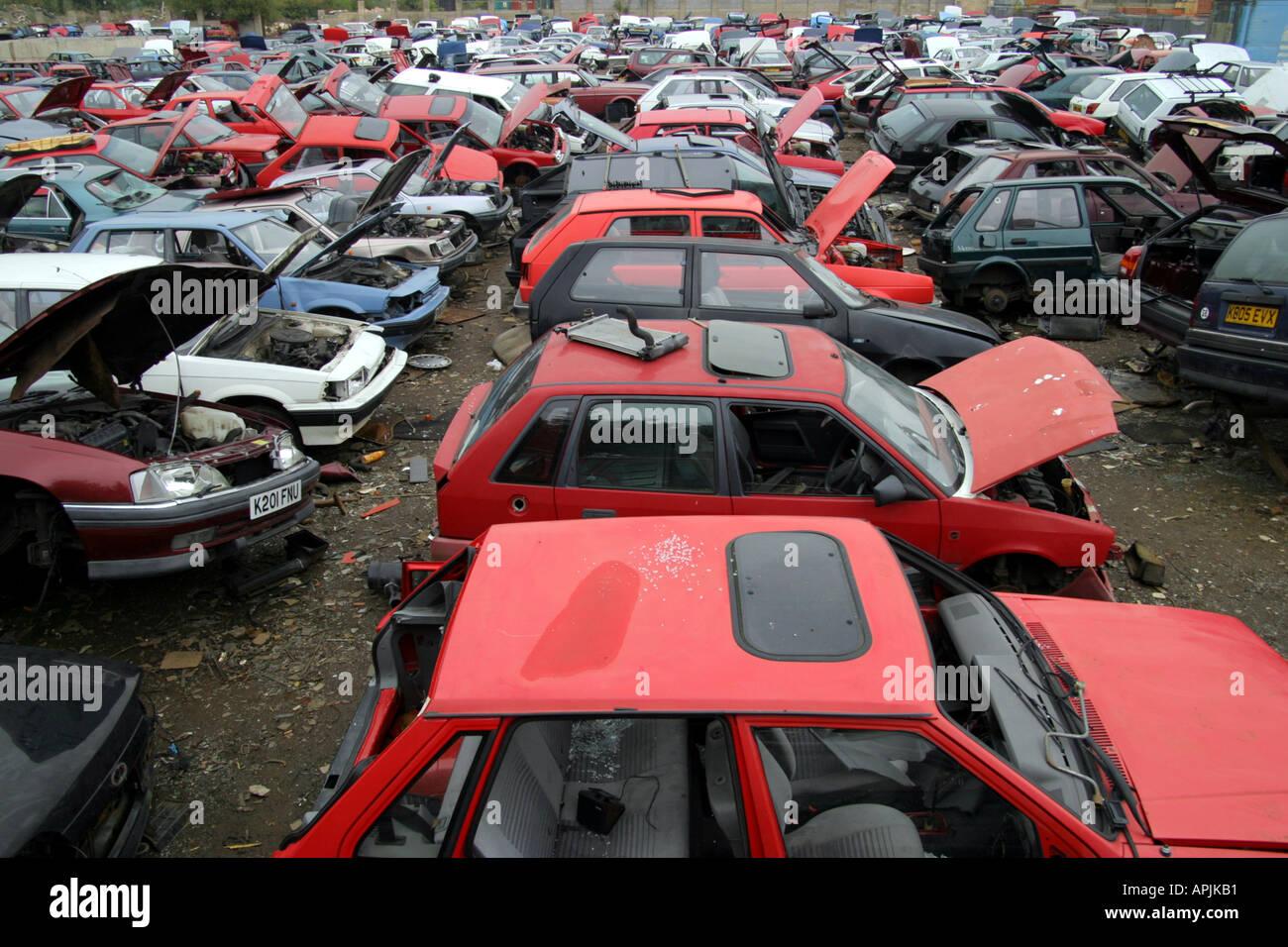 view of scrap cars in UK scrap yard Stock Photo, Royalty Free ...