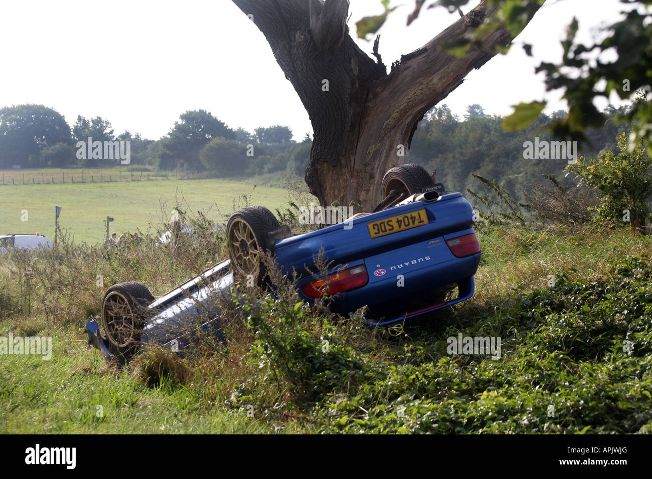 picture shows a non fatal car accident on the a1307 in linton cambridgshire local caption car