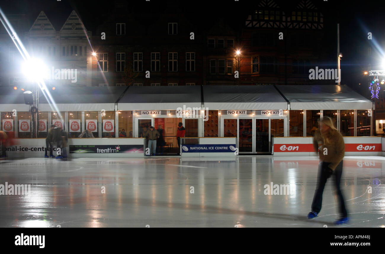 the outdoor ice rink in place in nottinghams city centre during