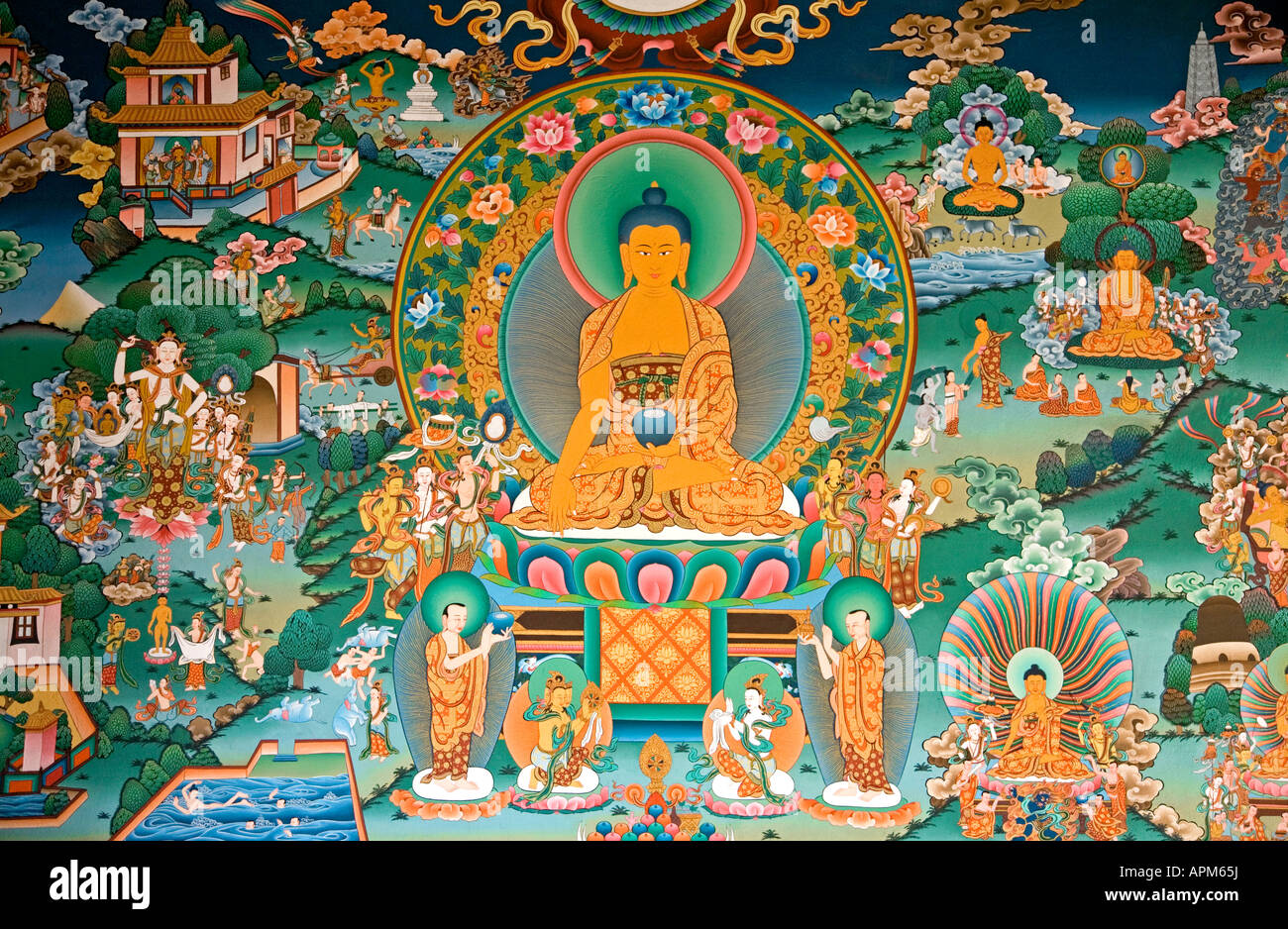 Thangka mural painting buddhist gompa ranipauwa village for Buddha mural art