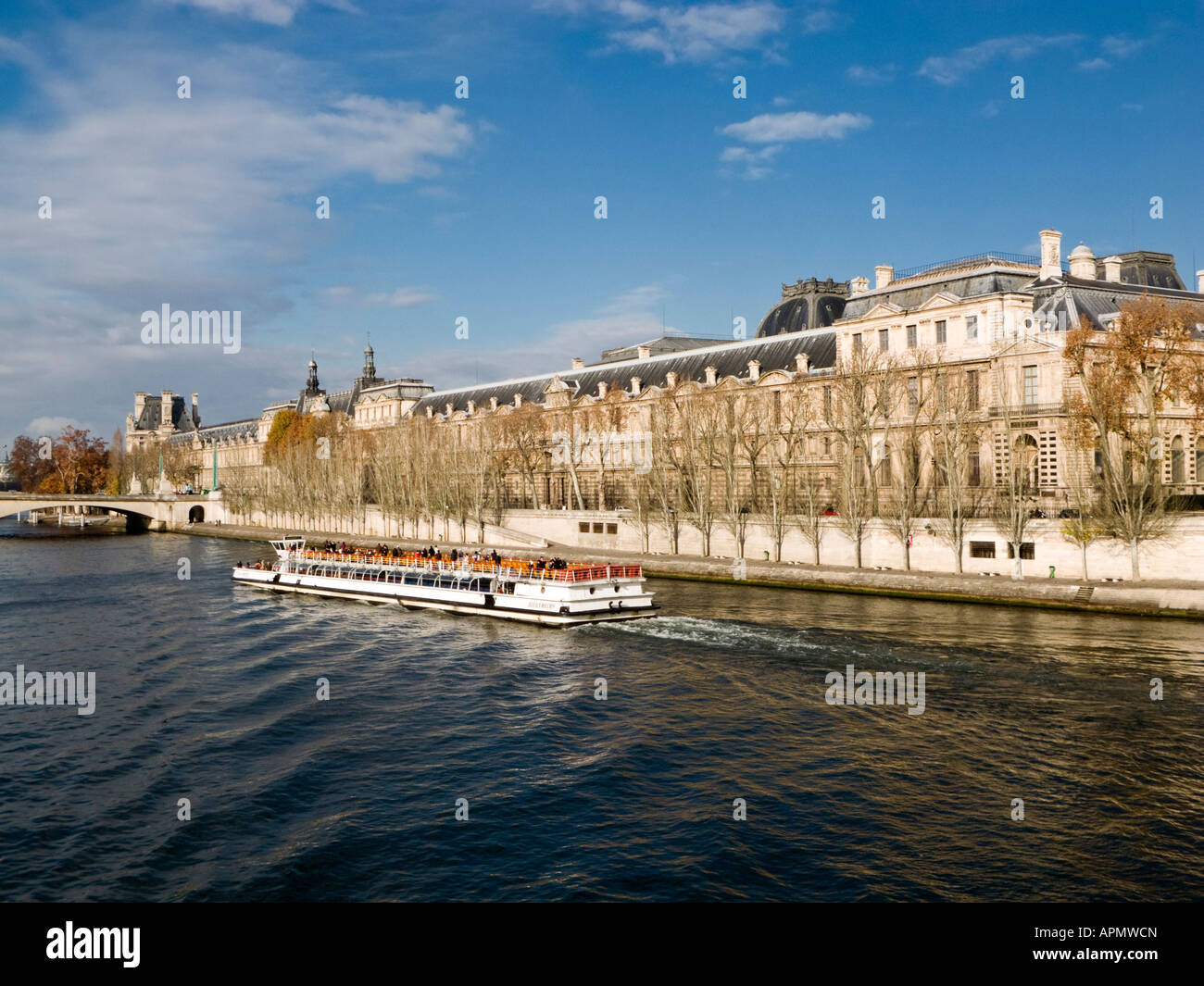 bateaux mouches sightseeing cruise boat on the seine next to the stock photo royalty free image. Black Bedroom Furniture Sets. Home Design Ideas