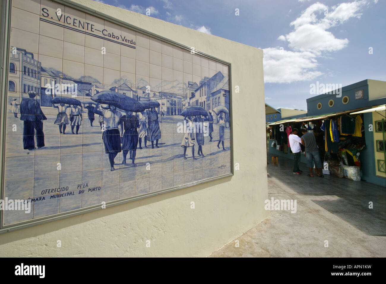 Ceramic tile mural showing past scenes in the market place of ceramic tile mural showing past scenes in the market place of mindelo on sao vicente in the cape verde island dailygadgetfo Choice Image