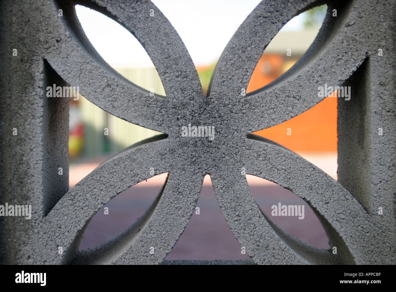 garden wall decorative concrete block stock photo, royalty free