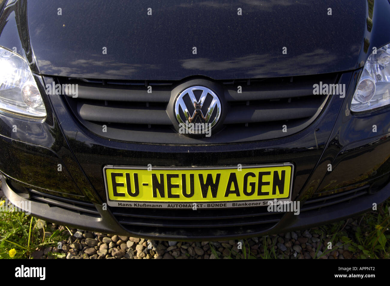 Color car number - Stock Photo Volkswagen Eu Neuwagen New Car Number Plate Yellow Car Motor Motoring Colour Color Saving German Germany Deutschland Deutsch