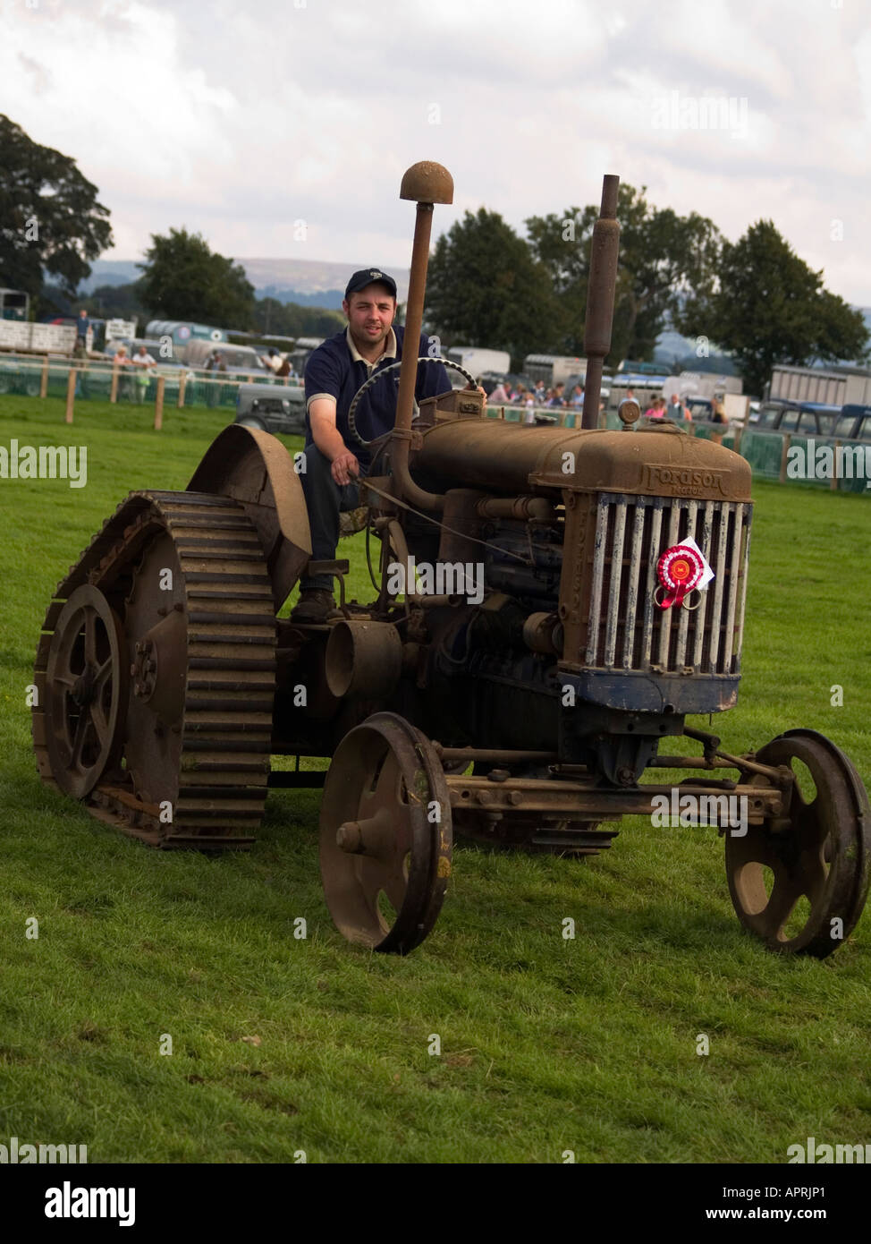 A fordson major e27n half track vintage tractor at stokesley agricultural show 2006 stock image