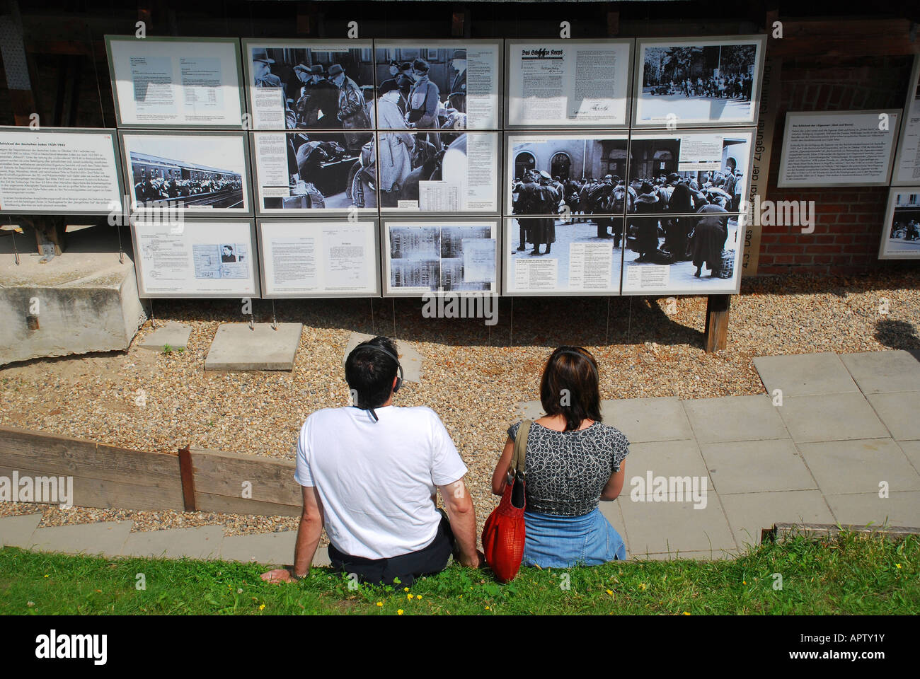 Exhibition topography of terror at the rest of berlin wall niederkirchner street berlin germany stock photo
