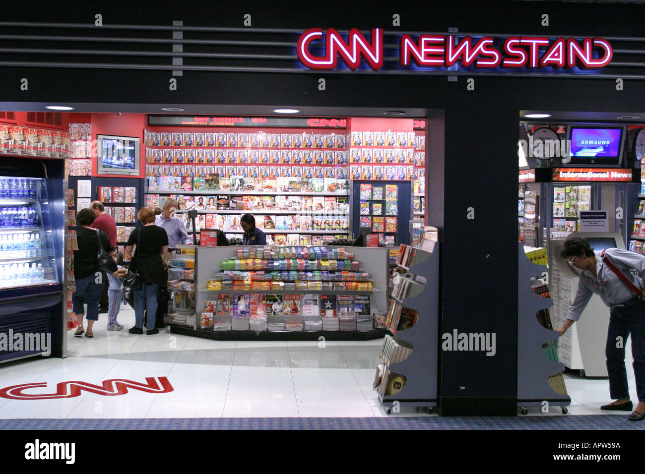 georgia peach state atlanta airport concourse cnn newsstand stock