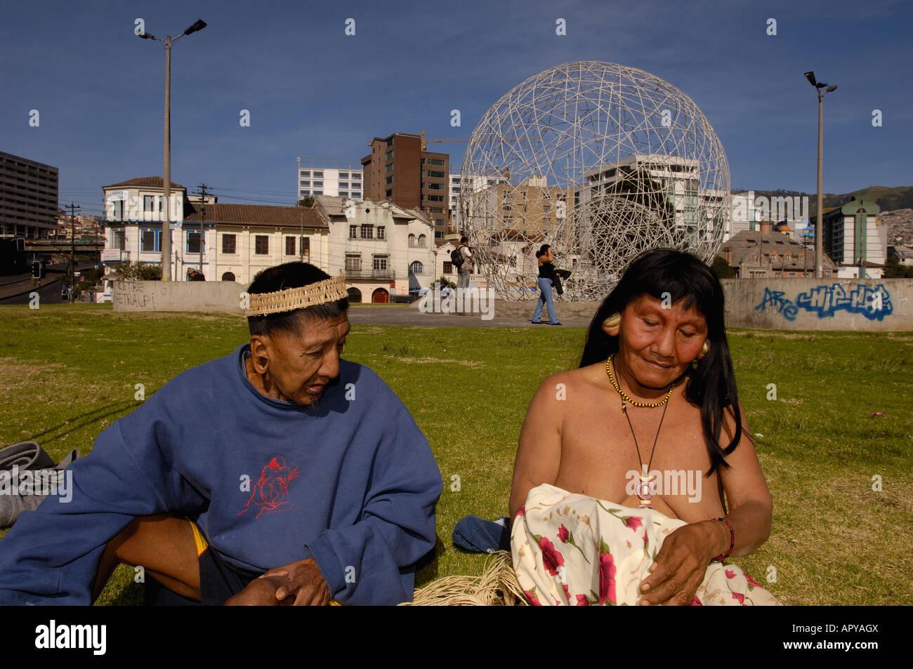 Huaorani Indians In Quito The Capital Of Ecuador For A Protest - Capital of ecuador