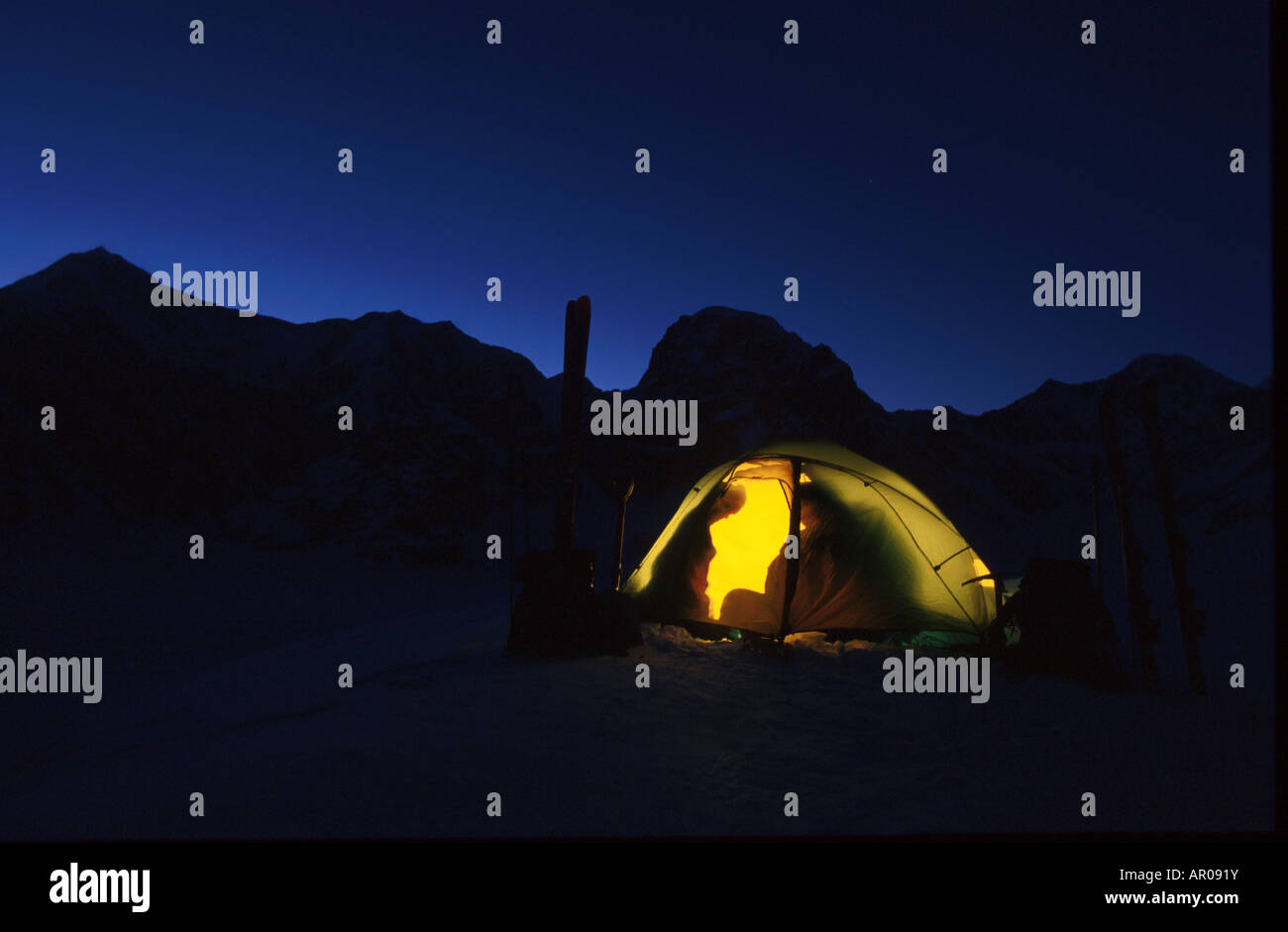 Couple Inside Glowing Tent Ruth Amphitheater Inerior AK Alaska Range Night & Couple Inside Glowing Tent Ruth Amphitheater Inerior AK Alaska ...