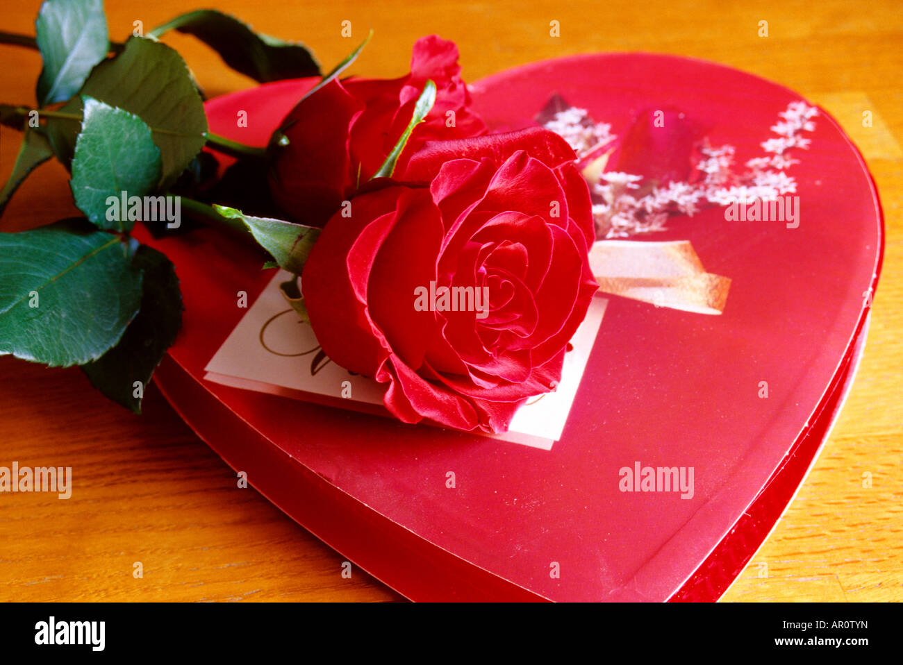 still life of valentine heart chocolates with red rose stock photo