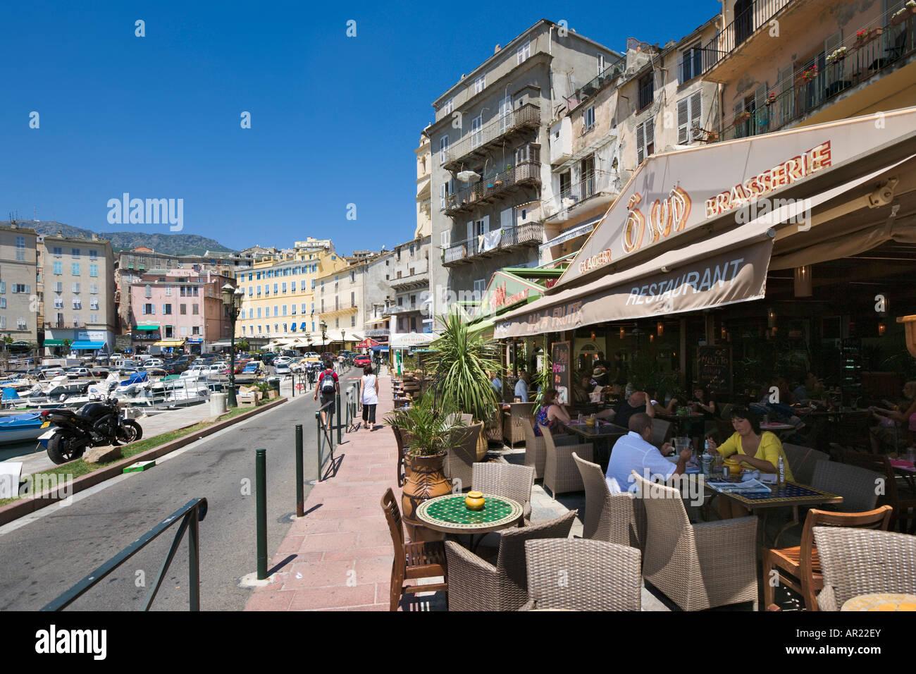 cafe in the vieux port terra vecchia bastia corsica stock photo royalty free image