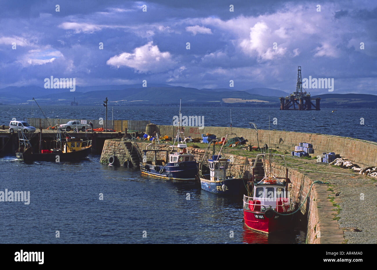 Fishing Boats Moored In Cromarty Harbour The Black Isle