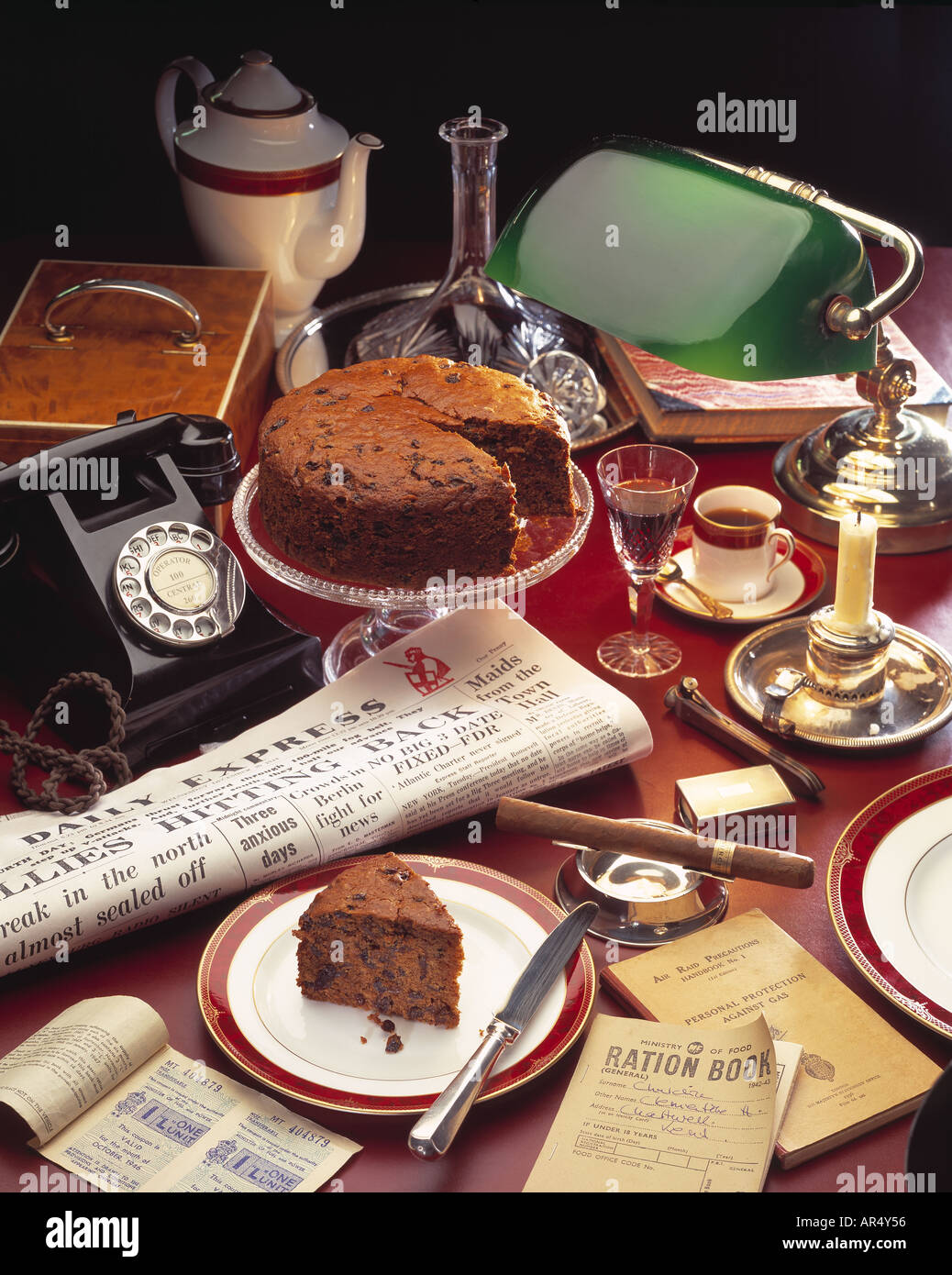 Wartime Cake Winston Churchill Setting With Cup Of Tea Newspaper ...