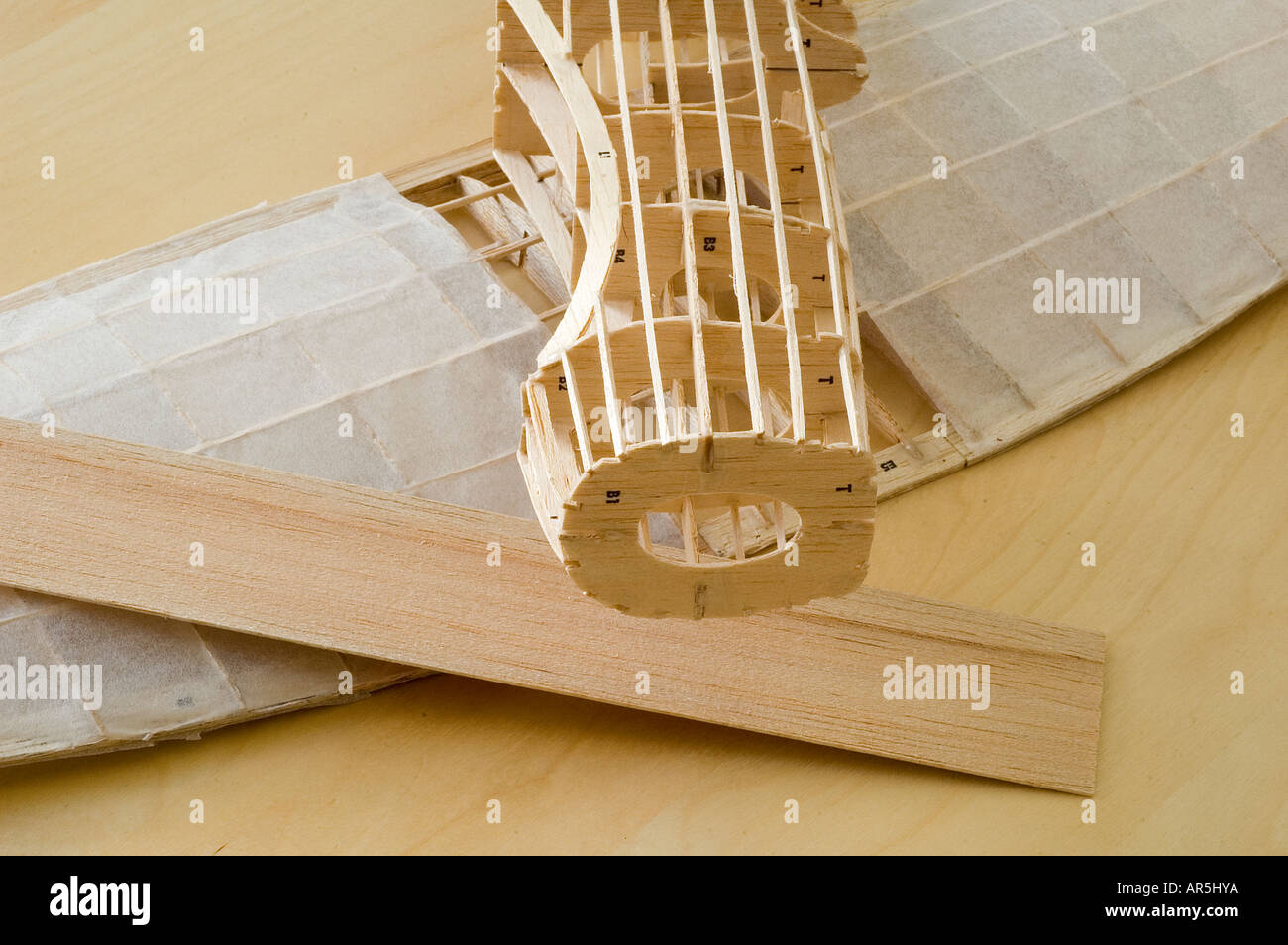 frame of a model airplane kit constructed of balsa wood stock photo royalty free image 9112185. Black Bedroom Furniture Sets. Home Design Ideas