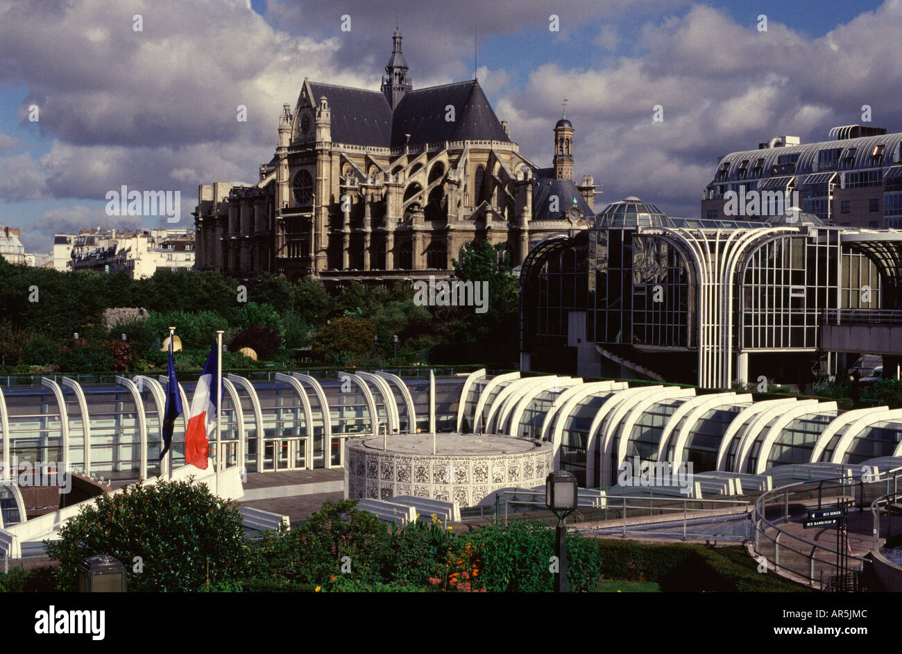 forum des halles shopping precinct with eglise saint eustache church stock photo royalty free. Black Bedroom Furniture Sets. Home Design Ideas