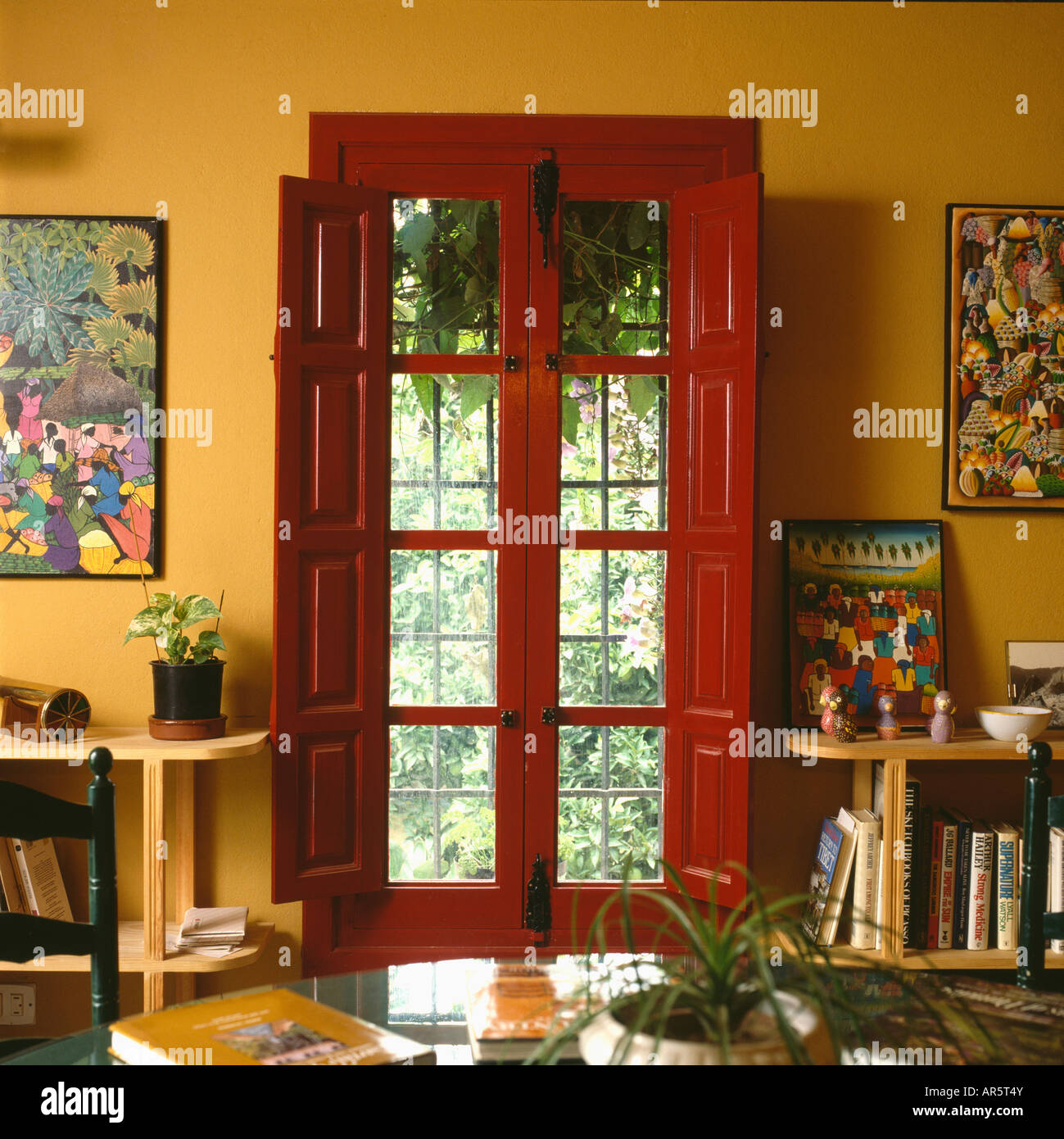 Red shutters and windowframe on French doors in yellow Seventies Spanish dining room & Red shutters and windowframe on French doors in yellow Seventies ...
