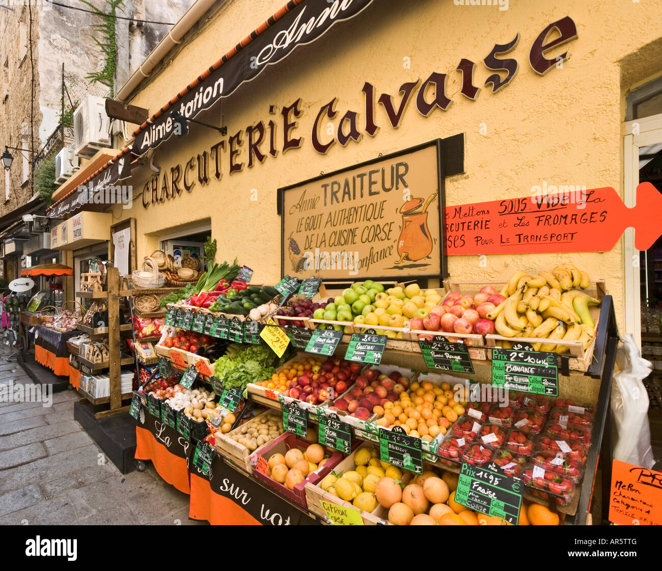 Cafe in the vieux port terra vecchia bastia corsica france stock - Charcuterie And Greengrocers In The Old Town Calvi The Balagne Corsica France