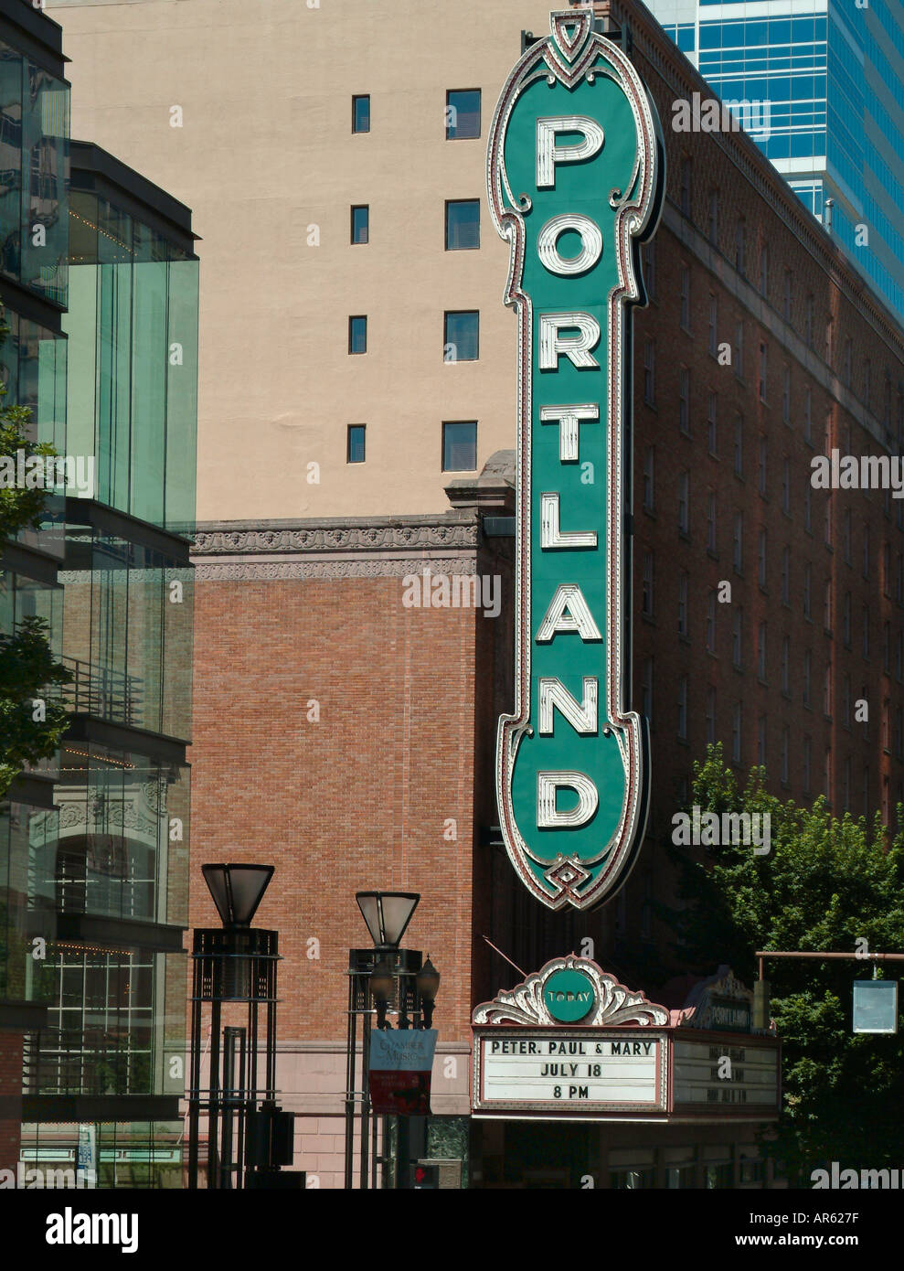 Stock Photo   The Portland Paramount Theatre Portland Oregon USA Looking  North On Broadway Also Arlene Schnitzer Concert Hall Portland Cente