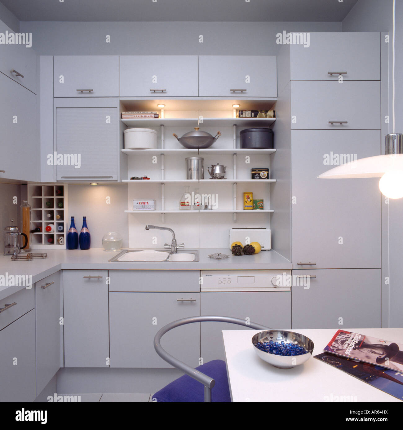 Hidden Kitchen Lighting: Lighting Above Shelving In Modern Grey Kitchen With Hidden