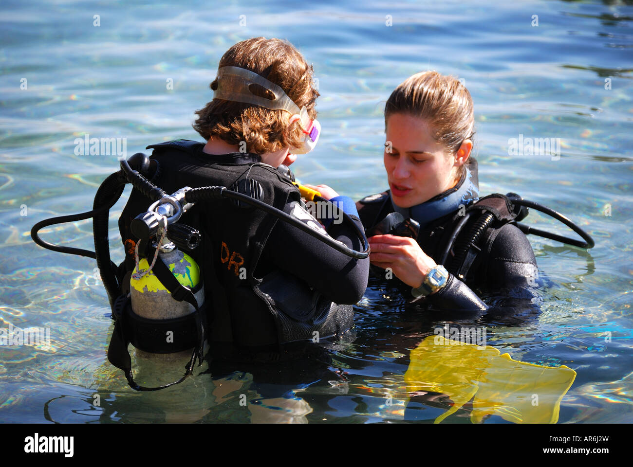 Scuba diving instructor teaching young boy dolphin reef - Dive instructor jobs ...