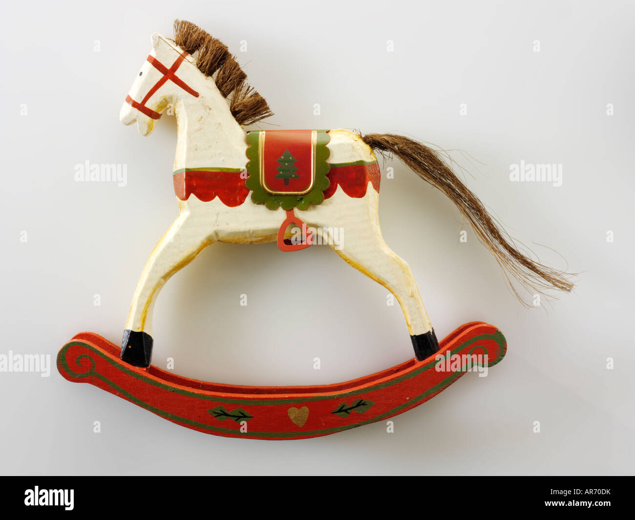 Stock Photo  Hand Made Festive Wooden Rocking Horse Christmas Decoration
