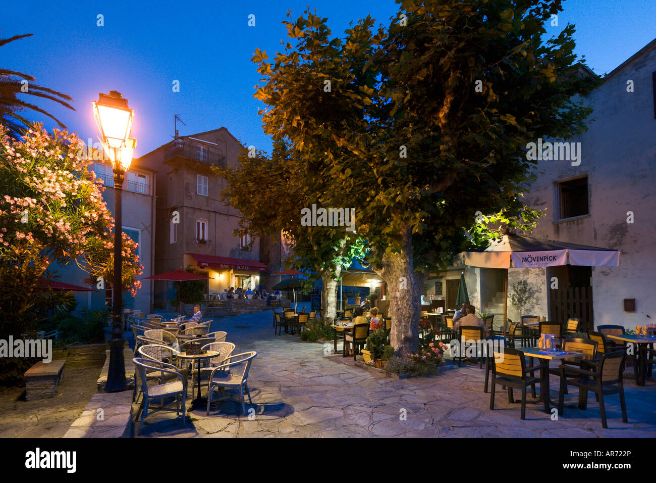 Cafe in the vieux port terra vecchia bastia corsica france stock - Cafe Bar At Night Erbalunga Cap Corse Corsica France Stock Image