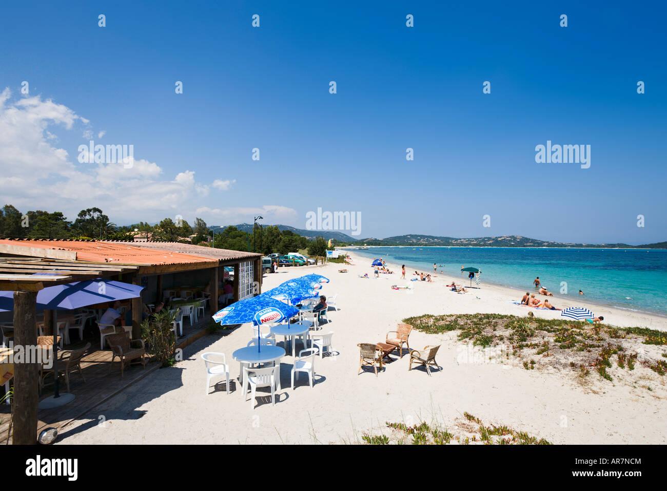 Beach and Beach Bar at San Ciprianu, near Porto Vecchio, Corsica ...