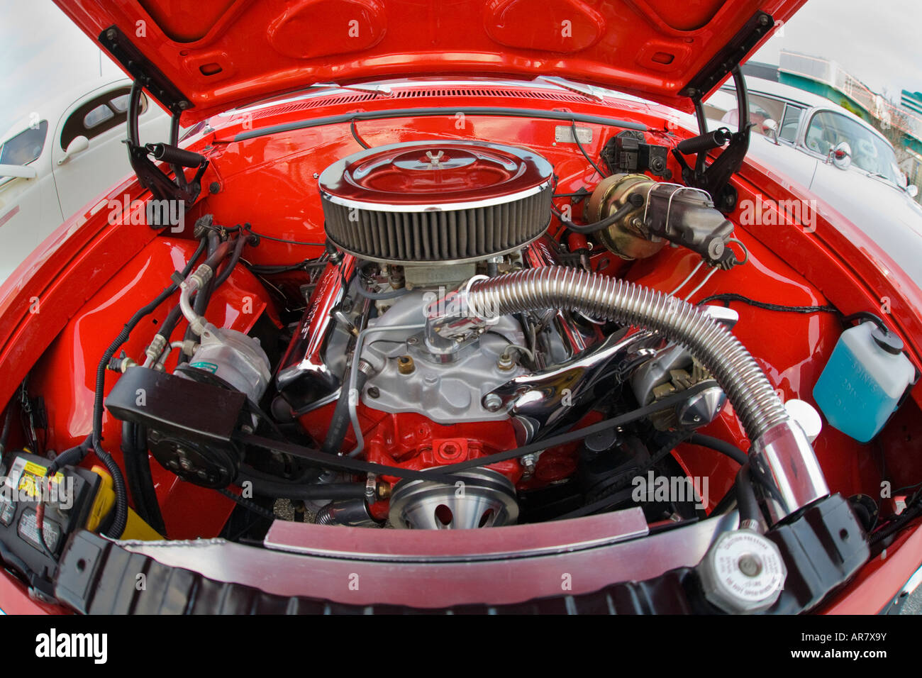 American Muscle Car Engine With Chrome Stock Photo Royalty Free