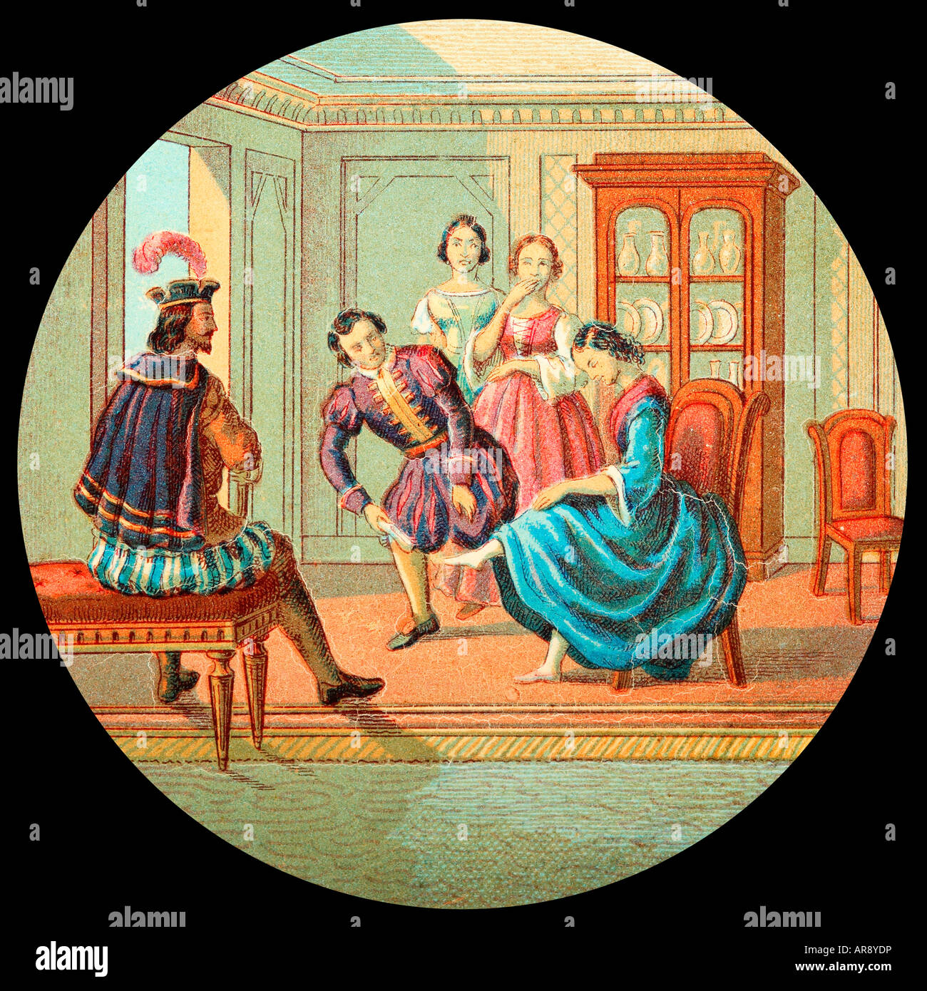 Old Glass Lantern Slide of Story of Cinderella. Trying on ...