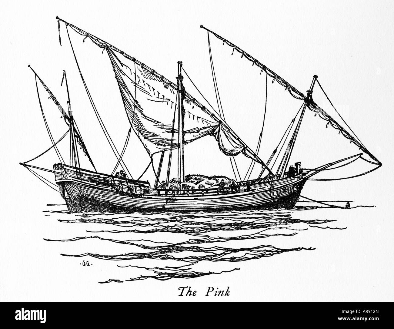 pink merchantman drawing of the mediterranean sailing vessel from