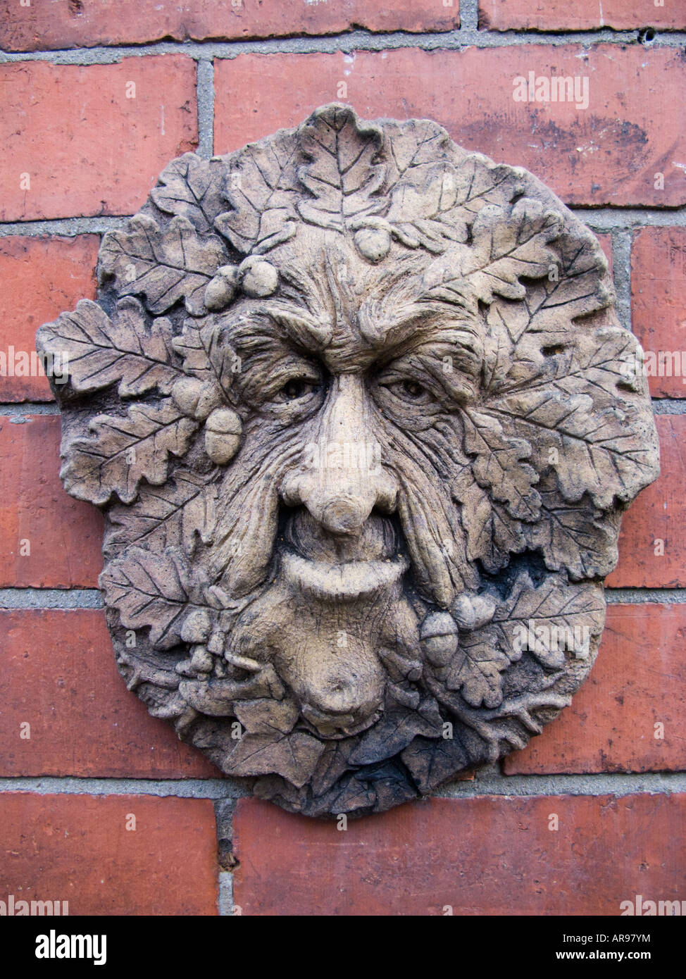Ceramic Wall Plaque Old Man Of The Woods With Oak Leaves A