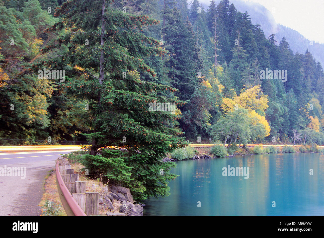 Lake crescent and highway 101 in fall olympic national for Log cabin resort lago crescent wa
