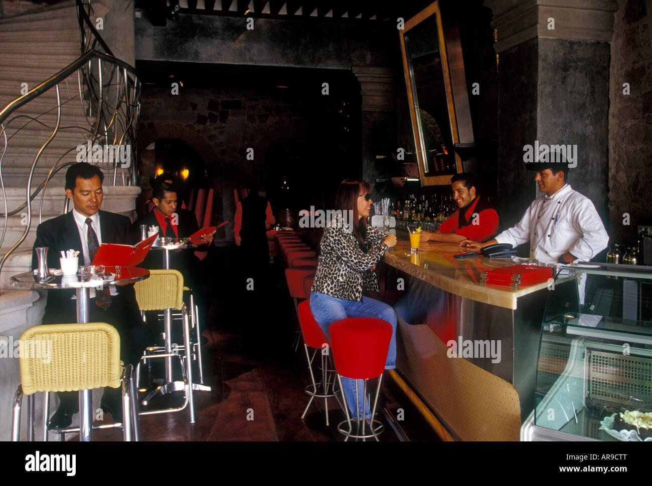 Mexicans Mexican People Person Tourists Eating Dining Room At Onix Restaurant Bar Morelia Michoacan State Mexico North America