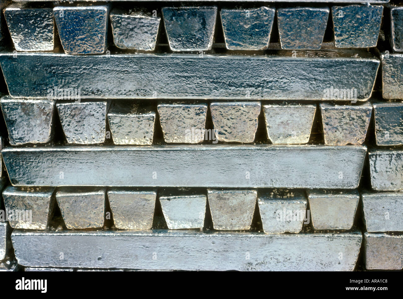 Pure Raw Silver Ingot Bars Stacked In A Secure Bullion