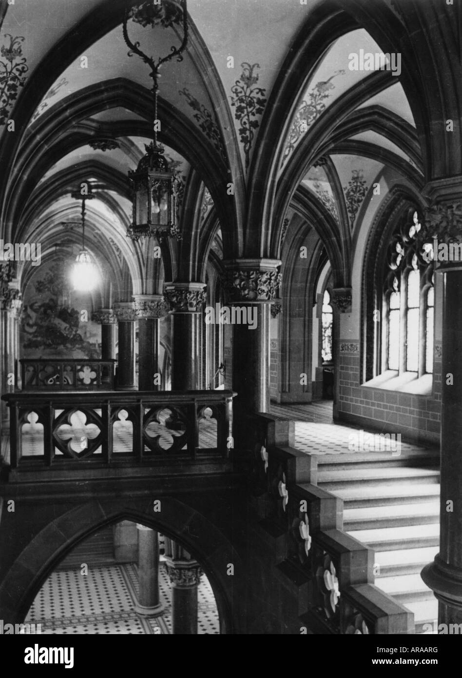 Geography Travel Germany Munich New Town Hall Staircase 1930s 30s Stairs Architecture Bavaria Europe 20th Century Hi