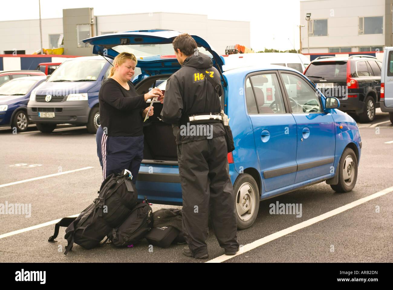 Car Hire Ireland: Car Hire Drop Off, Hertz, Dublin Airport, Ireland Stock