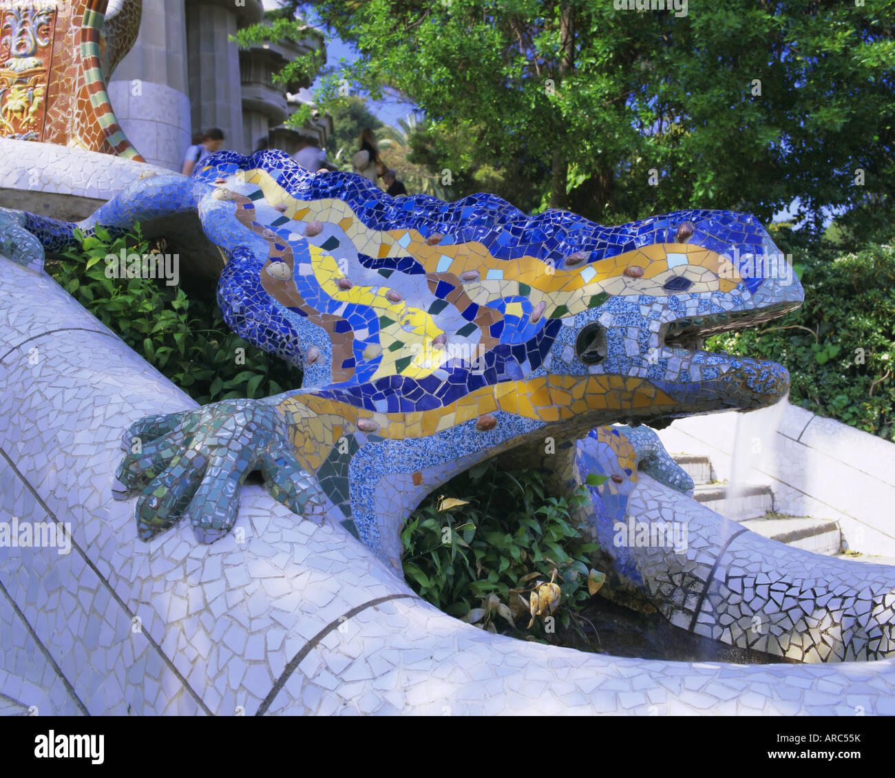 Gaudi Architecture Parc Guell UNESCO World Heritage Site Barcelona Catalunya Catalonia Cataluna Spain Europe