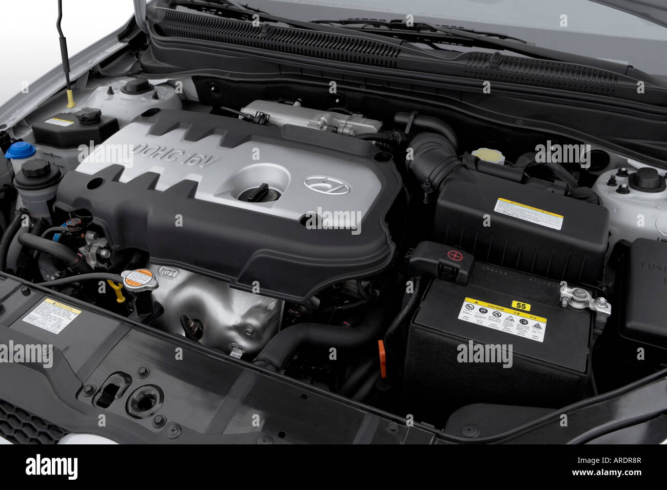 2007 Hyundai Accent Se In Silver Engine Stock Photo