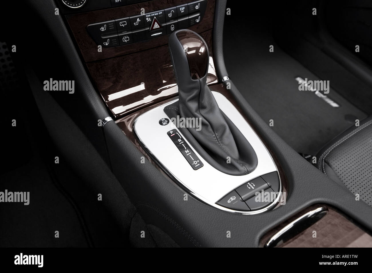 2005 mercedes benz e55 amg in black gear shifter center console stock photo royalty free. Black Bedroom Furniture Sets. Home Design Ideas